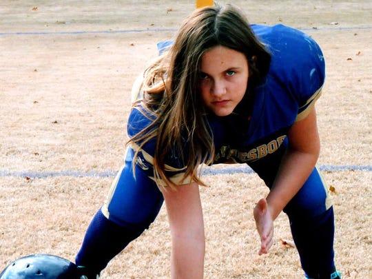 girl football player